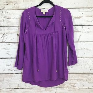 Micheal Kors purple gold stud tunic